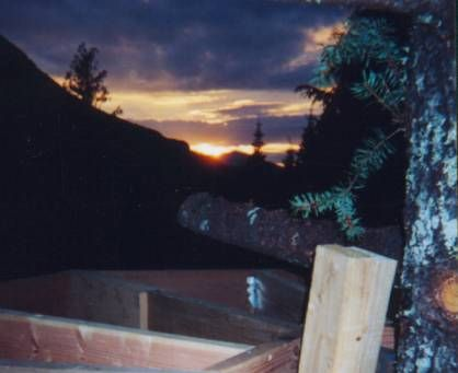 Beautiful sunset view during deck construction.
