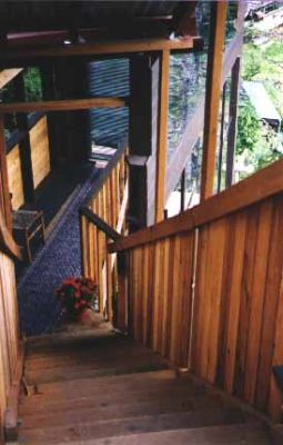 Stairway between the treehouse and the main staircase
