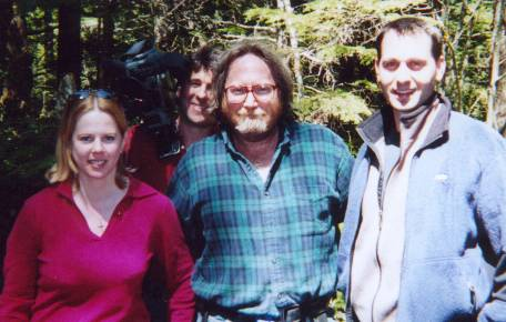 The Travel Channel production crew poses with Bill (center) after a successful shoot in April 2002